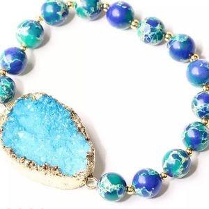 Chakra Boho Druzy Bracelet Turquoise NEW